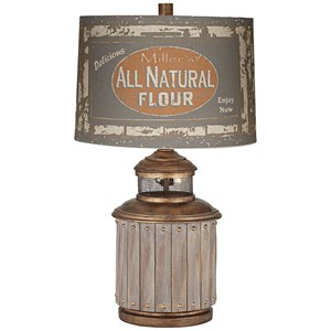 Pacific Coast Lighting Table Lamps Americana Copper/Faux Wood Pot Table Lamp