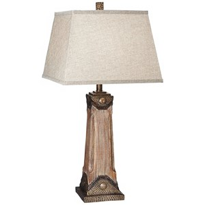 Pacific Coast Lighting Table Lamps Faux Wood With Hammered Metal Table Lamp