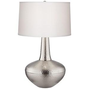 Hammered Metal Vase Ant. Nickel Table Lamp