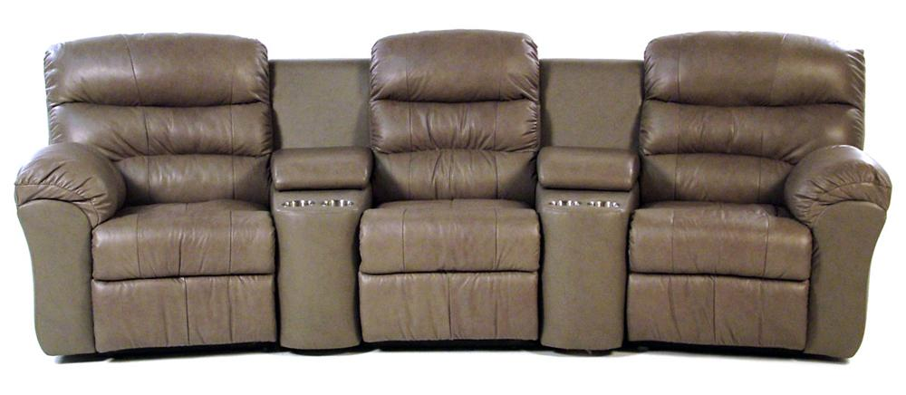 Palliser Hollywood 5-PC Curved Home Theater Seating - Item Number: 41098-60+67+66+2xAO