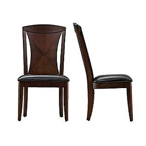 Rodea Dining Side Chair with Leather Upholstered Seat by Casana