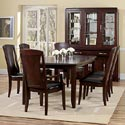 Casana Rodea Dining Arm Chair with Leather Upholstered Seat - 298-142 - Shown with Rectangular Table 298-154, Dining Side Chair 298-140, Dining Buffet and Hutch 298-190+191