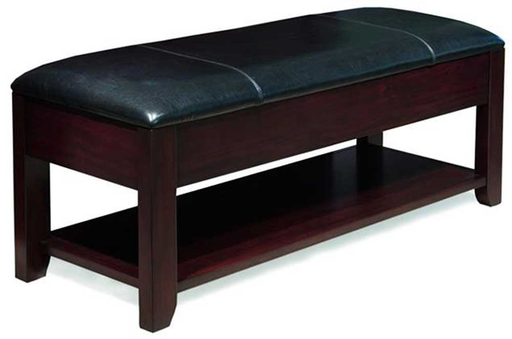 Rodea Leather Upholstered Bench With Lower Shelf By Casana