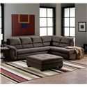 Palliser Cincinnati Sectional Sofa with Open End Chaise - Shown with Coordinating Ottoman
