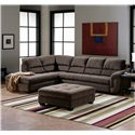 Palliser Cincinnati Sectional Sofa with Open Chaise End - Shown with Coordinating Ottoman
