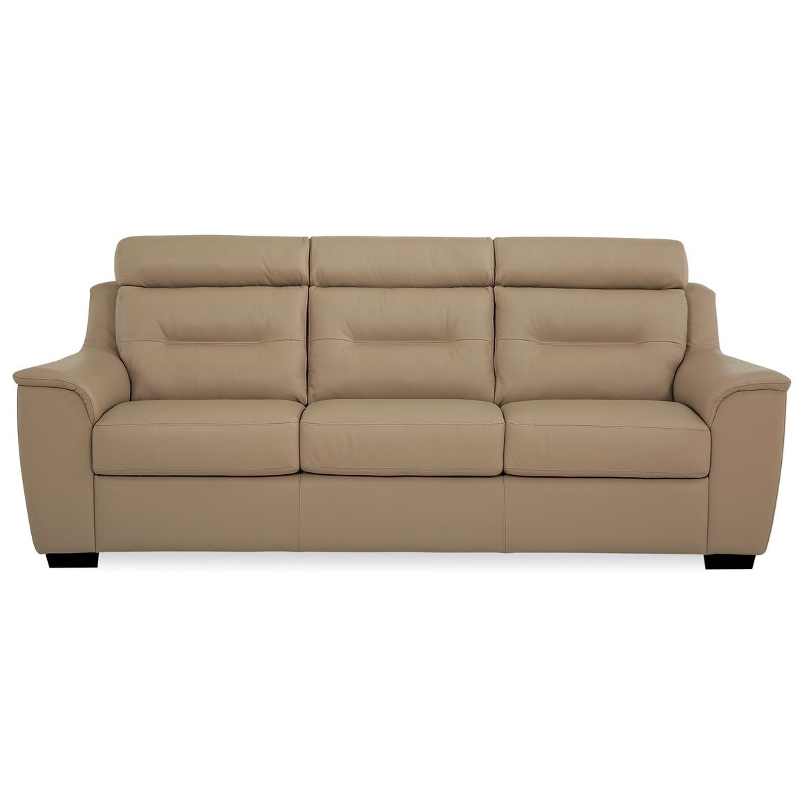 Palliser Denmark Contemporary Leather Sofa With Exposed
