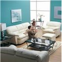 Palliser Harley Casual Upholstered Ottoman - Shown in Room Setting with Sofa and Chair
