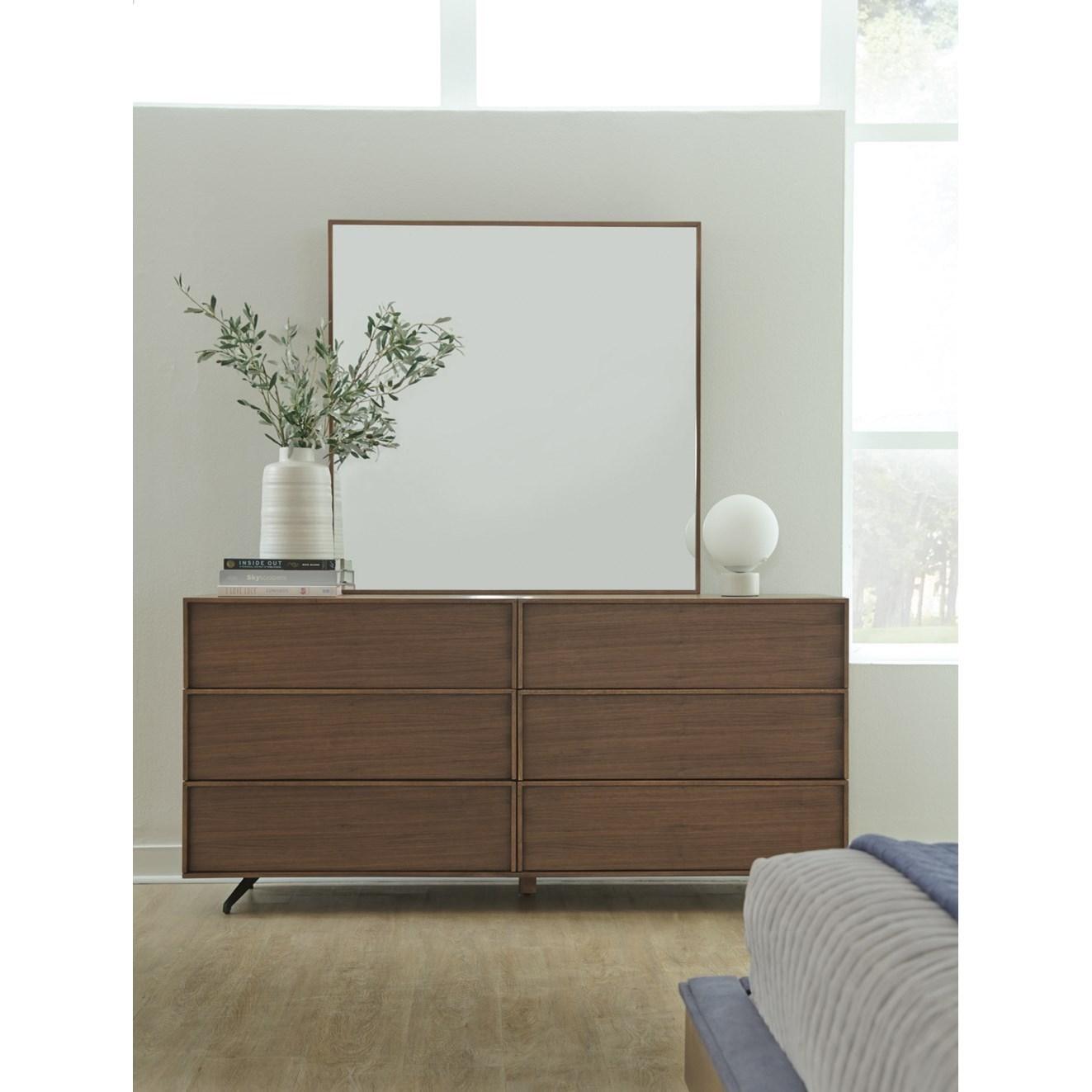 Palliser Kamden Mid Century Modern Dresser And Mirror Set Dunk
