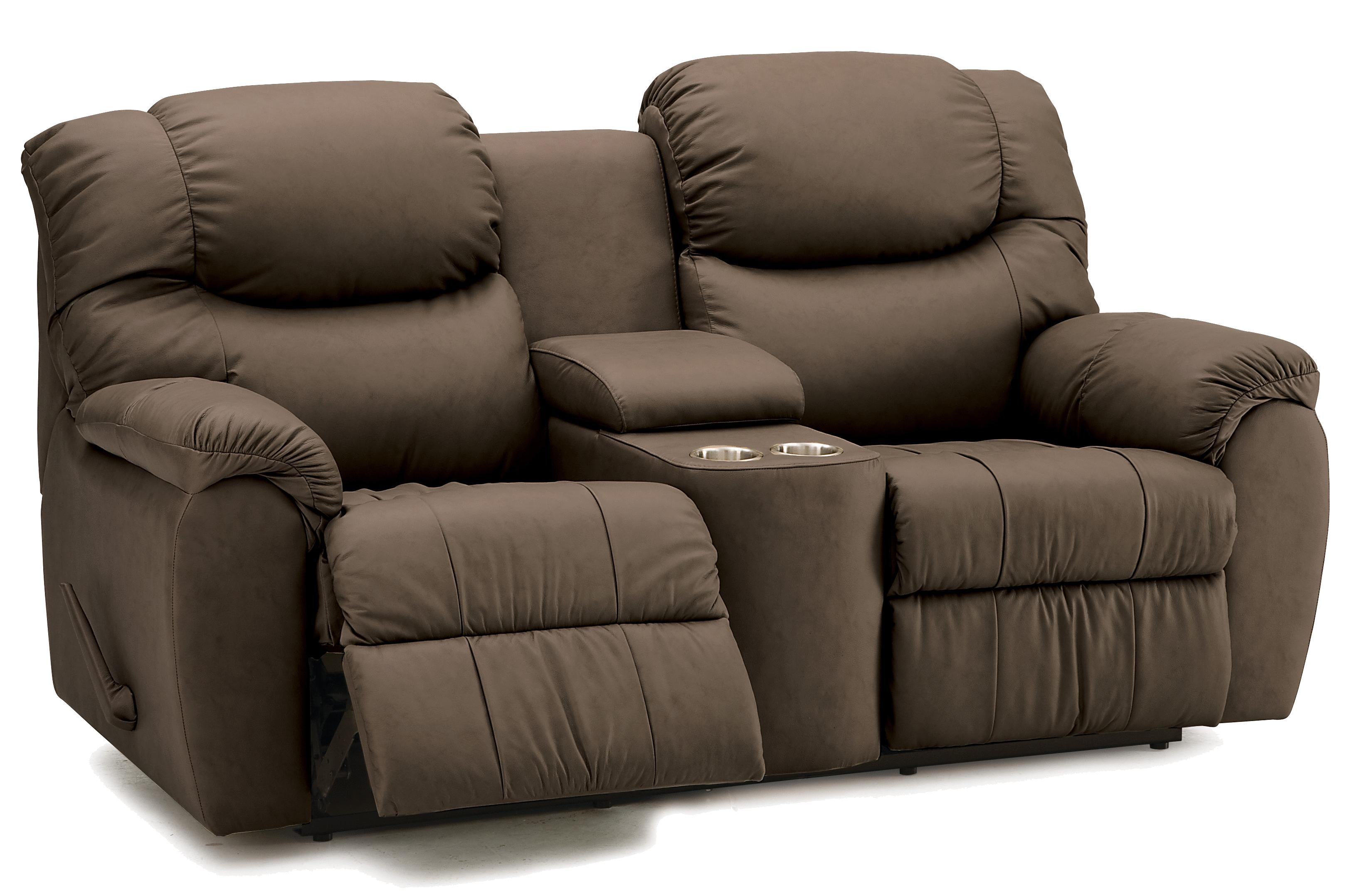Palliser Regent Reclining Console Loveseat With Cupholders