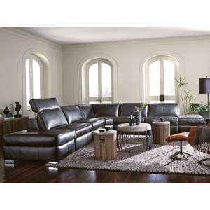 4-Seat Sectional Sofa w/ Pwr Head & 2 Reclin