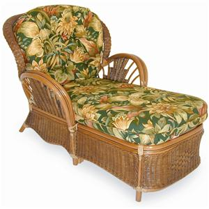 Palm Springs Rattan Bali  Upholstered Chaise Lounge