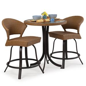 Palm Springs Rattan Empire 3 Pc. Counter Height Dining Set