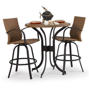 Palm Springs Rattan Empire 3 Pc. Bar Dining Set