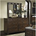 Panama Jack by Palmetto Home Eco Jack Coastal Brown Distressed 9-Drawer Dresser - 101-140 - Shown with Mirror