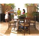 Panama Jack by Palmetto Home Eco Jack Square Cafe Pub Table with 2 Shelves - 101-652 - Shown in 5-Piece Dining Set
