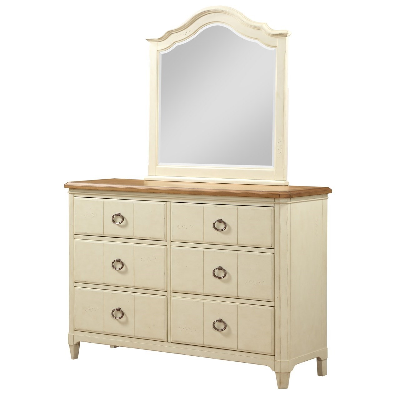 Panama Jack by Palmetto Home Millbrook Dresser and Mirror Set - Item Number: 112-145+045