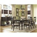 Panama Jack by Palmetto Home Old Havana Coastal Traditional Wood Slat Arm Chair - 102-­634A - Shown in 7-Piece Dining Set with Server