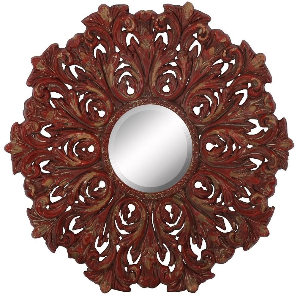 Distressed Red Scroll Mirror