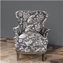 Park Hill Collection Chair Grey Bird Toile Upholstered Arm Chair - Item Number: Q90590