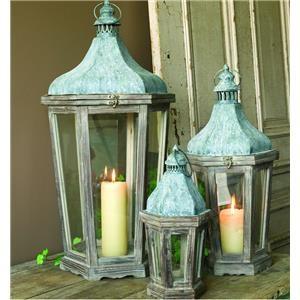 Park Hill Collection Vintage Home Decor Wooden Metal Lantern