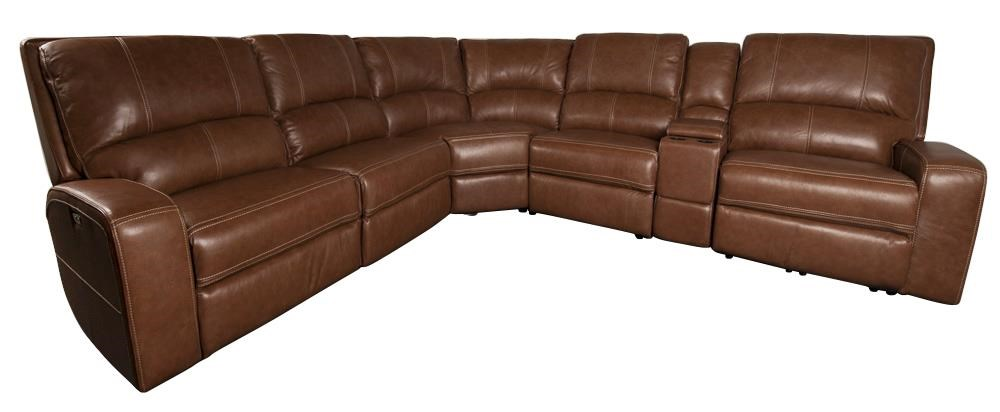 Alta  Leather Match Power Sectional