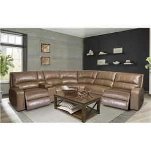 Morris Home Furnishings Alta Alta 6-Piece Leather-Match Power Sectional