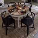 Paramount Furniture Americana Modern 5-Piece Dining Set - Item Number: DAME-48RND-COT+4x2118-BLK