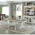 Paramount Furniture Americana Modern 6-Piece Dining Set with Bench - Item Number: DAME-88TRES-2-COT+4x2018-COT+1218-C