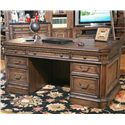 Parker House Aria Library Double Pedestal Executive Desk with 6 Drawers and 1 Flip Down Drawer and Hidden Storage - Shown with Compartments Closed