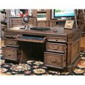 Parker House Aria Library Double Pedestal Executive Desk with 6 Drawers and 1 Flip Down Drawer and Hidden Storage - Shown with Compartments Open