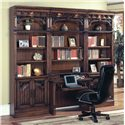 "Parker House Barcelona Two-Piece Library Desk - Bar460_2 - Shown with Two 32"" Open Top Bookcases"