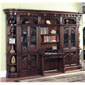 "Parker House Barcelona Two-Piece Library Desk - Shown with Two 32"" Glass Door Bookcases and Two Outside Corners"
