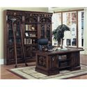 "Parker House Barcelona Double Pedestal Executive Desk - Shown with Two 32"" Glass Door Bookcases, One 32"" Open Top Bookcase, and One Library Ladder"