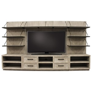 Industrial Entertainment Wall Unit with Back Panel