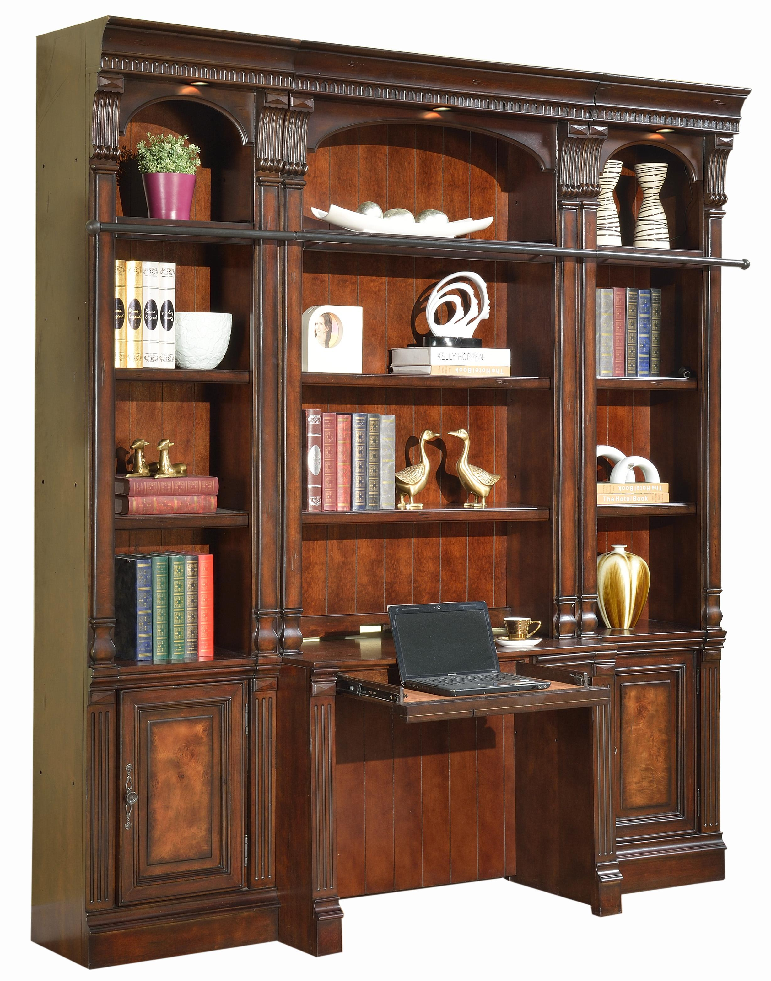 Four-Piece Library Wall with Desk