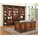 Parker House Corsica Double Pedestal Executive Desk with Tooled Leather Writing Surface, 2 File Drawers and Decorative Burl Front with Hidden Storage Compartments - Shown with Outside Corner, 32-Inch Open Top Bookcase, 2-Piece Library Desk and 32-Inch Glass Door Cabinet