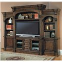 Parker House Genoa 3 Piece Entertainment Center with Console and Hutch - Shown as Part of Entertainment Wall Unit with Left and Right Piers