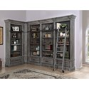 Parker House Gramercy Park Relaxed Vintage 6 Piece Museum Corner Bookcase Unit with Ladder