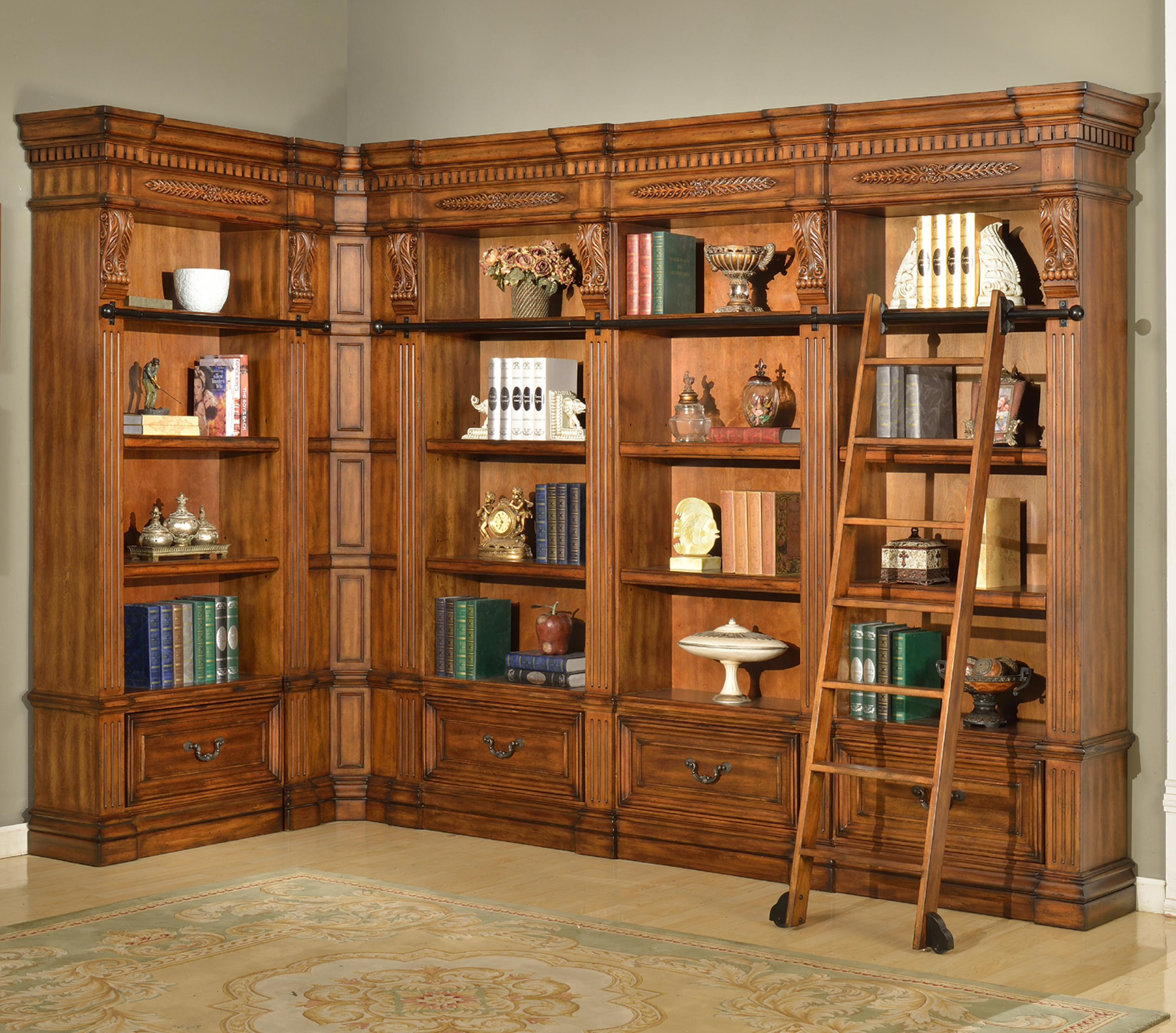 Parker House Granada 6 Piece Museum Corner Bookcase Unit - Item Number: GGRA 9056+2x9030+2x9031+9095