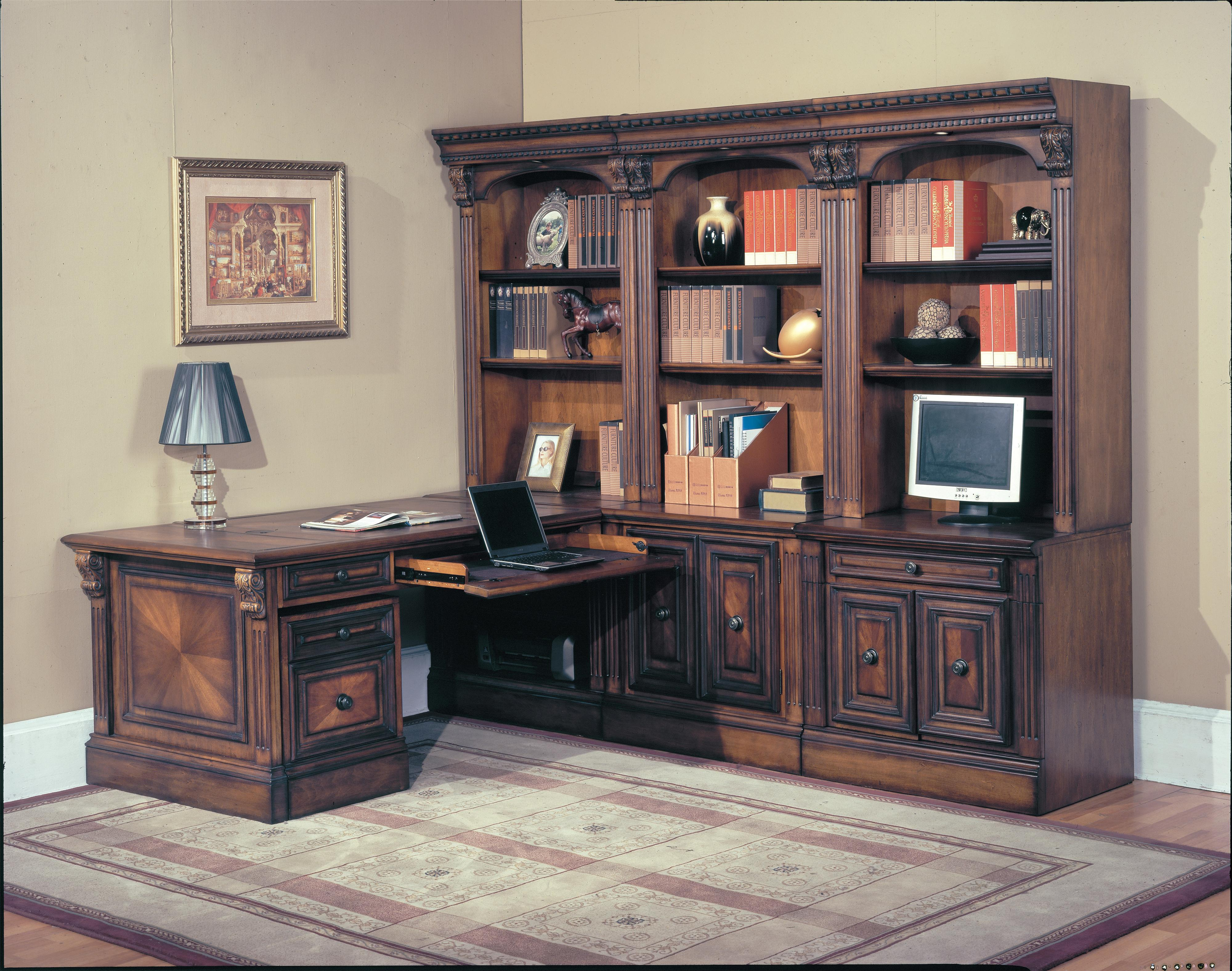 Parker House Huntington 9-Piece Library Wall and Peninsula Desk - Item Number: HUN-500+505+510+520+530+3x550+575