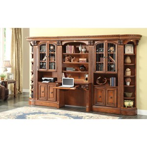 Large Bookcase Desk and Hutch