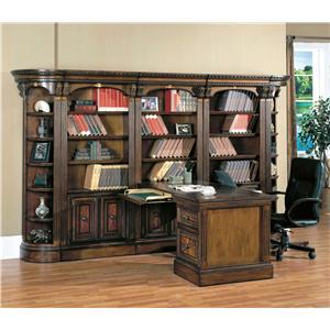 Large Wall Peninsula Bookcase Desk