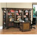 Parker House Huntington Large Wall Peninsula Bookcase Desk - Item Number: Hun-LPD