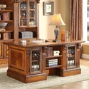 Parker House Huntington Double Pedestal Executive Desk - Shown with Two 32 Inch Glass Door Cabinets and One 32 Inch Open Top Bookcase