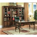 Parker House Huntington Writing Desk - Shown with Two 32 Inch Glass Door Cabinets and One 32 Inch Open Top Bookcase