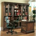 Parker House Huntington Two-Piece Peninsula Desk - Shown with Two 32 Inch Glass Door Cabinets and One 32 Inch Open Top Bookcase