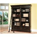 Parker House Palazzo  Museum Single Bookcase with 4 Shelves and Ladder - GPAL 9030+9095 - Multiple Bookcases can be Purchased and Bunched Together for a Wall Unit