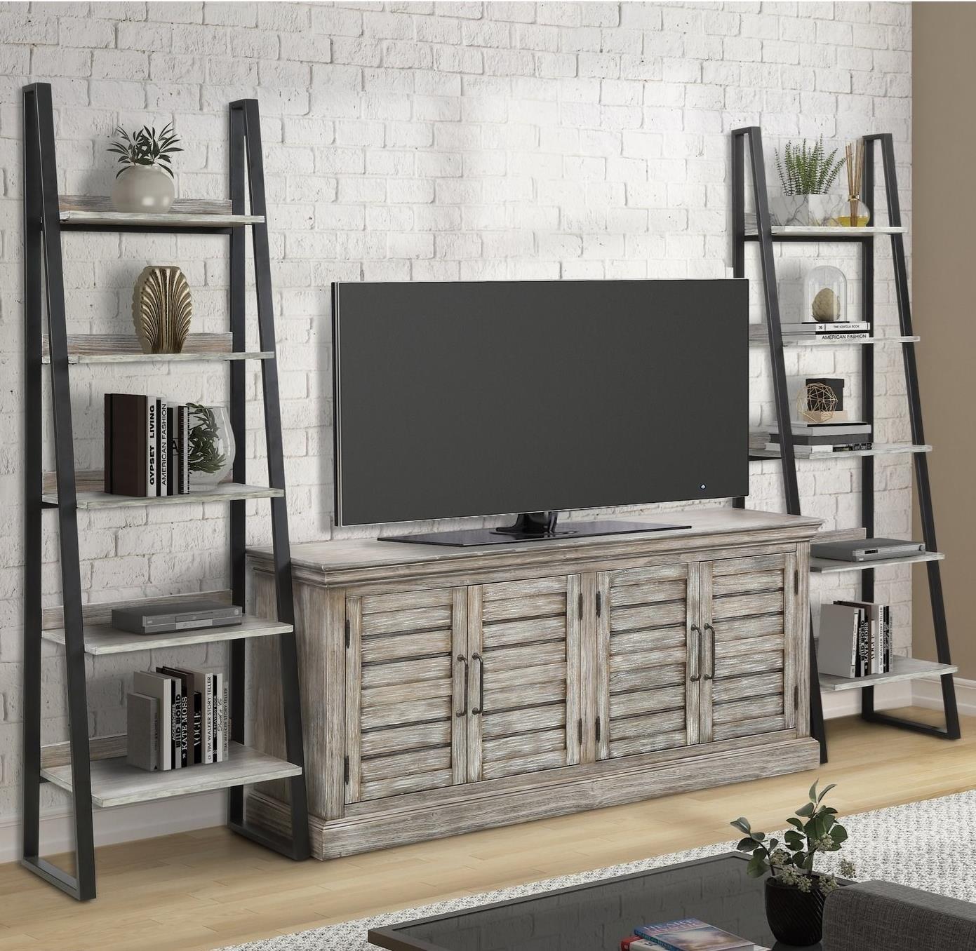 TV Console w/ 2 Pier Bookcases