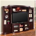 Parker House Premier Biscayne Contemporary Four-Piece Entertainment Wall with Expandable Console - Shown with Console Expanded