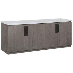 Contemporary 4-Door Credenza with Quartz Top
